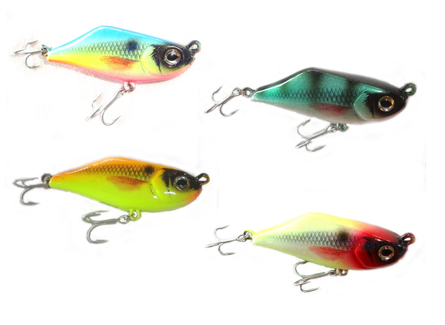 4 x Hadcrafted realistic Moby game fishing lures 7 5cm 20g Blue Bass