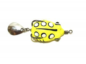 Snakehead fishing topwater frog lure 3.5cm with Flashy spinner tail Weedless action Yellow Fluro